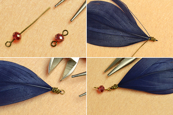 Pandahall Original Project- How to Make Tibetan Style Feather Pendant Necklace with Drop Glass Beads(7)