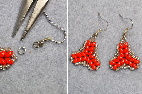 Pandahall Tutorial on How to DIY Red 2-Hole Seed Beads Earrings with Silver Seed Beads (7)